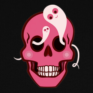 lindo cráneo con araña y fantasmas de o T-shirts
