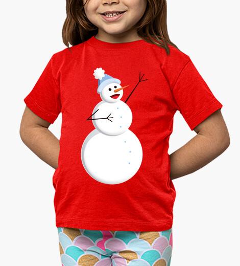 Ropa infantil lindo feliz cantando muñeco de nieve