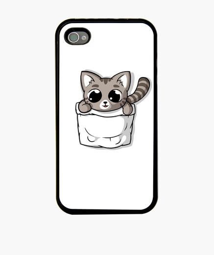 Funda iPhone lindo gato de bolsillo gris