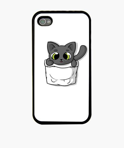 Funda iPhone lindo gato de bolsillo negro
