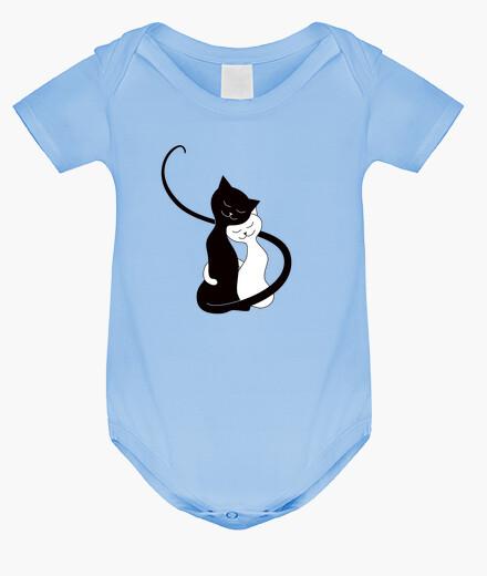 Ropa infantil lindos abrazos de gatos blancos y negro