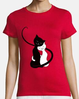 lindos abrazos gatos blancos y negros en lov