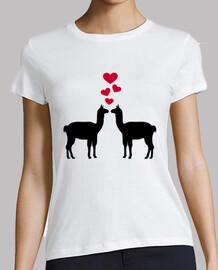 llama amour coeurs rouges