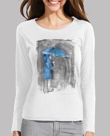 lluvia azul-Mujer, manga larga, blanco