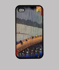 Lluvia sobre el puente Atake - Hiroshige