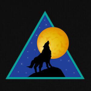 T-shirt lobo aullando a la luna llena