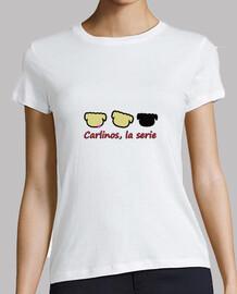 Logo Carlino. Mujer, manga corta, blanca, calidad premium