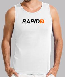 Logo Rapid7. camiseta blanca.