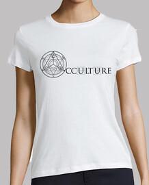 logos de doble cara de occulture camiseta negra mujer