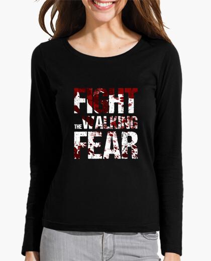 Long manga t shirt women fight the walking fear t-shirt