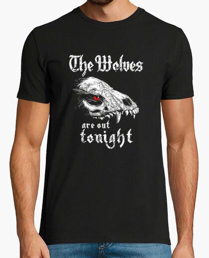 Camiseta los lobos están fuera esta noche, fantasía, huesos