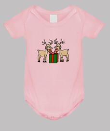 Los renos de Meneses. Body bebé, rosa