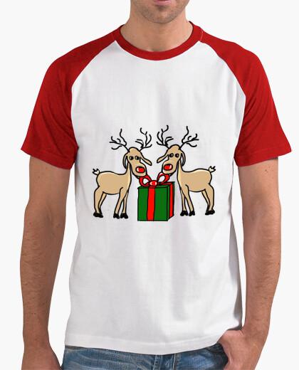 Camiseta Los renos de Meneses. Hombre, estilo béisbol, blanca y roja