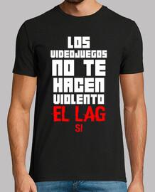 Los Videojuegos No Te Hacen Violento Camiseta Negra (Personalizable)