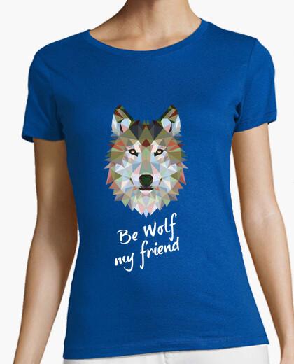 Tee-shirt loup être mon ami. m / c fille