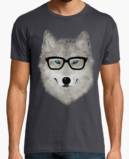 Tee-shirt loup gris avec des lunettes