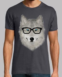 loup gris avec des lunettes