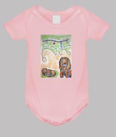 Loustik, le héros doudou sur Body bébé, rose