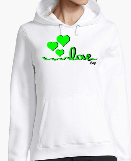 Love - green hearts hoody
