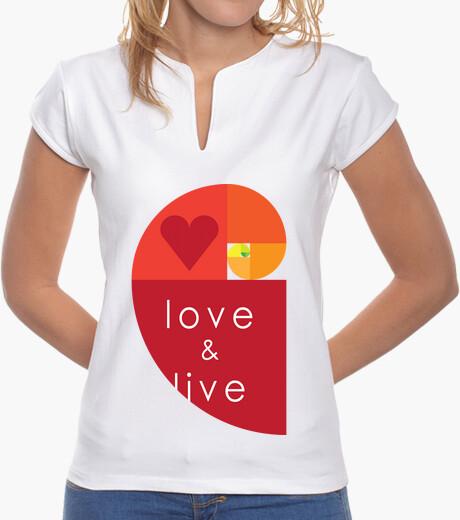 Camiseta love and live, Mujer, cuello mao, blanca