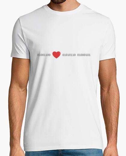 Tee-shirt love en code binaire, t-shirt manches courtes homme