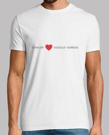 love en code binaire, t-shirt manches courtes homme