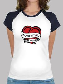 Love Music - Hate Racism, Mujer, estilo béisbol, blanca y azul marino