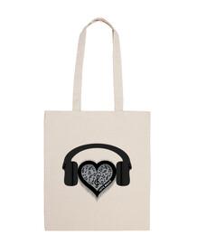 love music rhythm heart beat bag