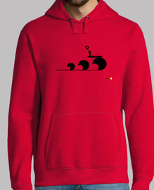 Love Surf Black in red hoodie