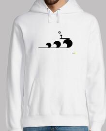 Love Surf Black in white hoodie