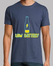 Low battery! Hombre, manga corta, denim, calidad extra