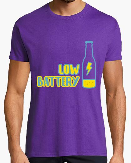 Camiseta Low battery! Hombre, manga corta, morado, calidad extra