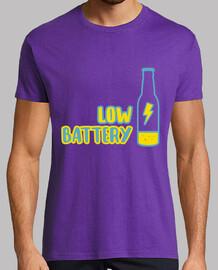 Low battery! Hombre, manga corta, morado, calidad extra