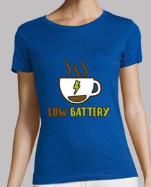 Low battery! Mujer, manga corta, verde, calidad premium