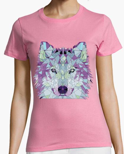 T-shirt low poly lupo viola