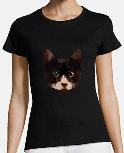 low poly shirt femme de chat