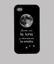 Luna llena, estrellas, frase motivadora Funda iPhone 4, negra, Luna llena, estrellas, frase motivado