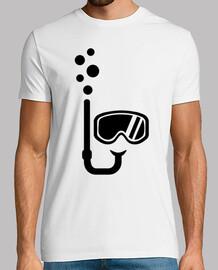 lunettes de plongée avec tuba bulles