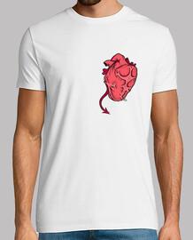 l'uomo, manica corta, doppio cuore stampa