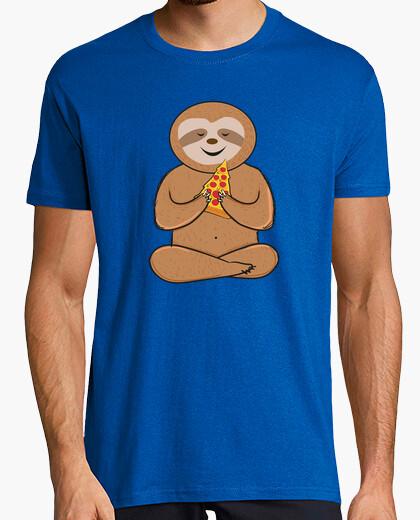 T-Shirt lustige Faultierpizza-Liebhaber bunt