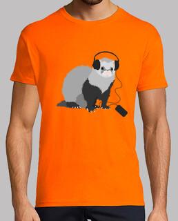 lustige musik liebende frettchen t-shirt