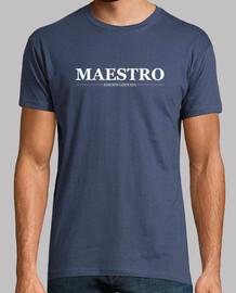 Maestro, hombre, logo blanco
