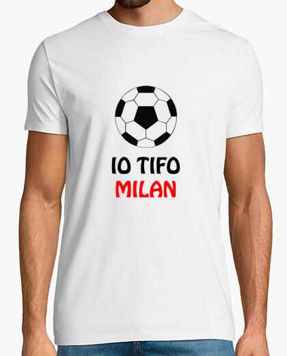 T-shirt Maglietta bianca tifo milan uomo