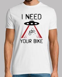 maglietta divertente per abduzione ufo bici