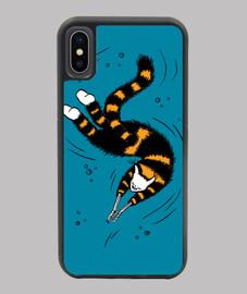 mains squelette chat de natation heureu