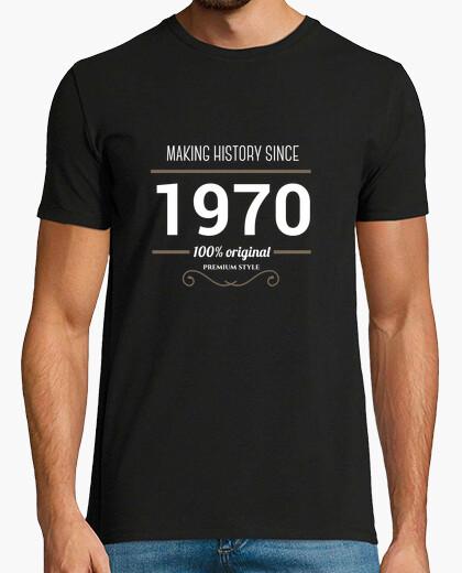 T-shirt making history 1970 testo bianco