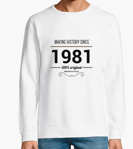 Making history 1981 black text hoody