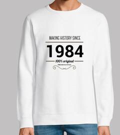 Making history 1984 black text