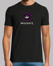 Malware logo contorno fuxia. camisetanegra.