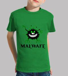 Malware logo contorno verde